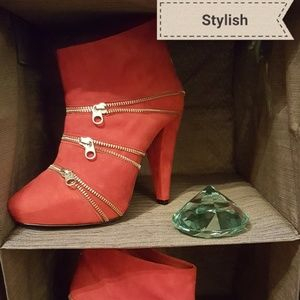 Red faux suede ankle boots